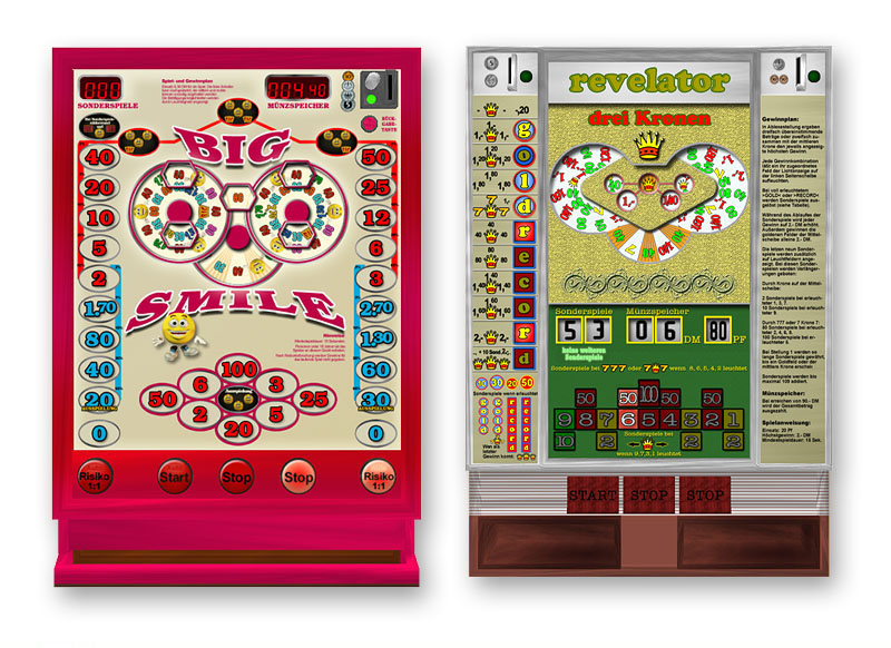 The game simulates seven classic german gambling machines (and 1 slotmachine)