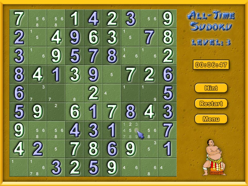 Click to view All-Time Sudoku 1.18 screenshot